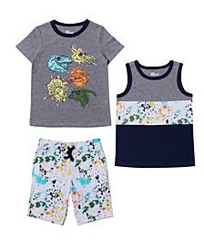 Toddler Boys Graphic T-shirt, Tank and Short Set, 3 Piece