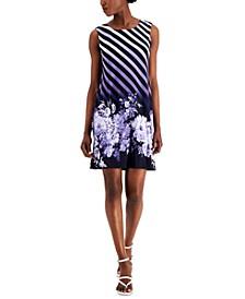 Petite Mixed-Print A-Line Dress
