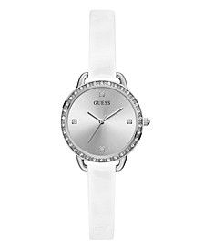 Women's Glitz Silver-Toned White Patent Leather Watch 30mm