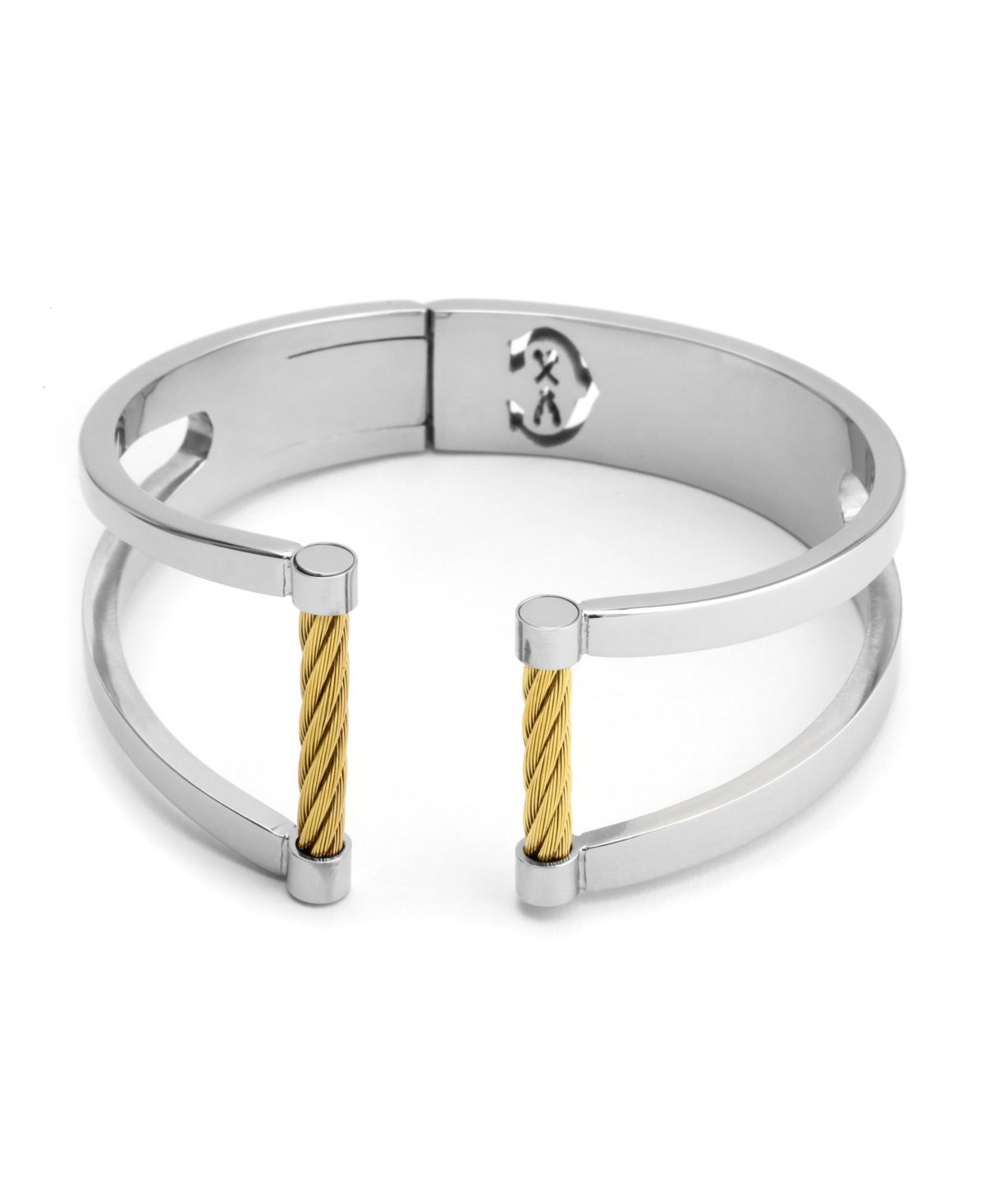 Cassis, Stainless steel bangle with Stainless steel yellow gold Pvd cable