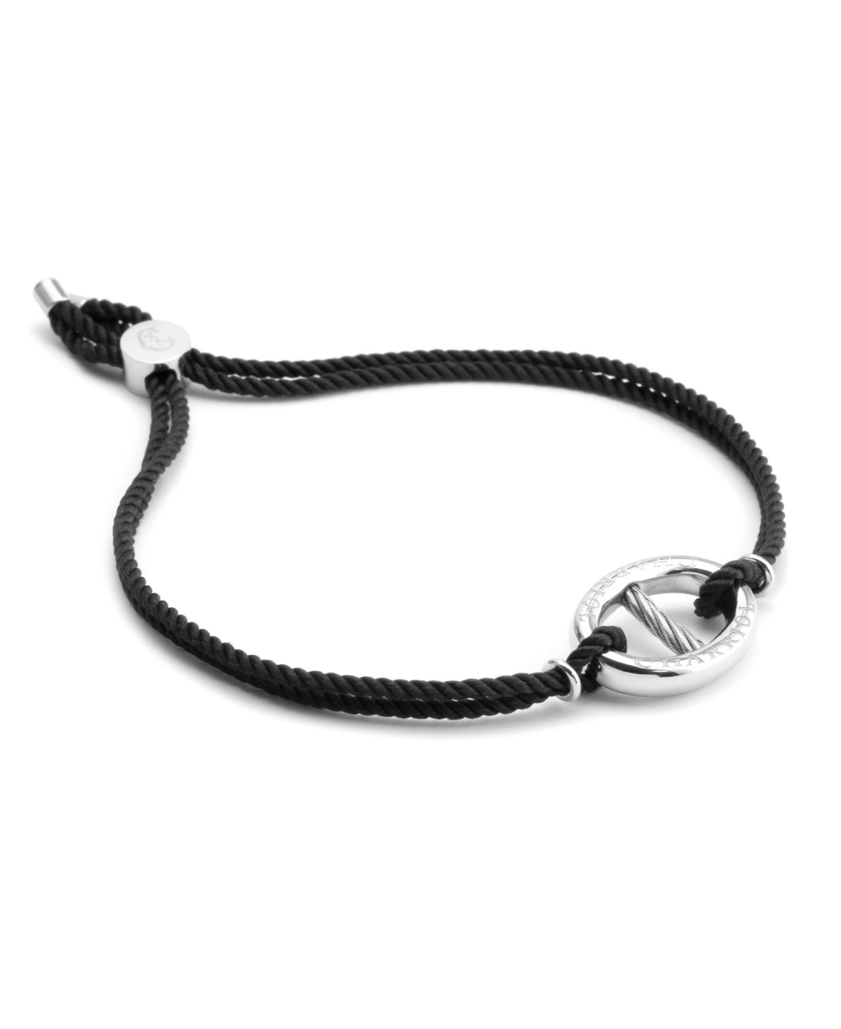 Marina, Silver bracelet with black string, Stainless steel cable 2.5mm