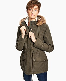 Juniors' Faux-Fur-Trim Hooded Anorak, Created for Macy's