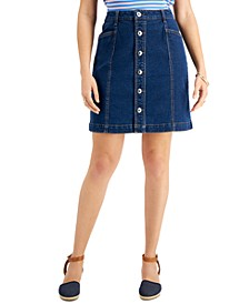 Petite Denim Button-Front Skirt, Created for Macy's