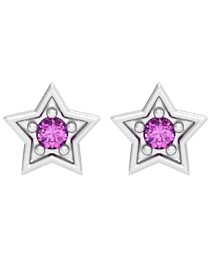 Blue or Pink Sapphire 1/20 ct. t.w. Star Stud Earring in Sterling Silver