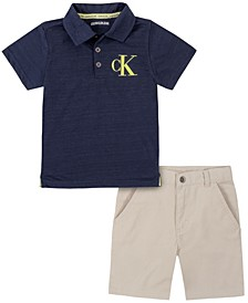 Toddler Boys Chevron Print Poly Knit Performance Polo with Twill Short Set, 2 Piece