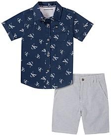 Little Boys Print Woven Poplin Shirt with YD Stripe Short Set, 2 Piece