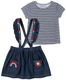 Baby Girls 2-Pc. T-Shirt & Denim Jumper Set