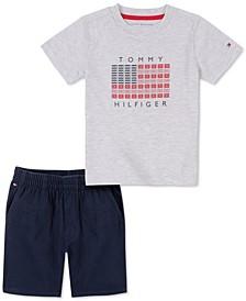 Baby Boys 2-Pc. Flag T-Shirt & Pull-Up Twill Shorts Set