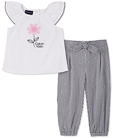 Baby Girls 2-Pc. Top & Striped Floral Pants Set