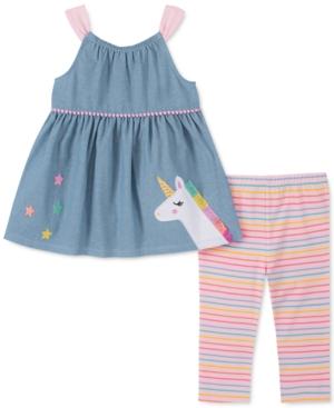 Kids Headquarters Baby Girls 2-pc. Unicorn Tunic & Striped Leggings Set In Blue