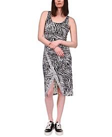 Petite Zebra Sport Logo Midi Dress