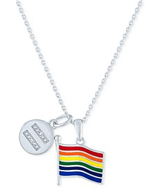 """Diamond Accented Disc & Pride Flag Pendant Necklace in Sterling Silver, 16"""" + 4"""" extender"""