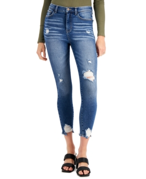 Juniors' Curvy High Rise Cotton Distressed Skinny Jeans