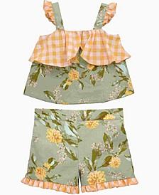 Toddler Girls Sleeveless Floral Top and Short Set, 2 Piece
