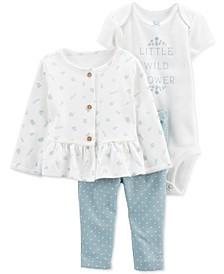 Baby Girls 3-Pc. Little Wildflower Cardigan Set