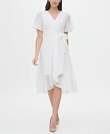 Eyelet Chiffon Belted Midi Dress
