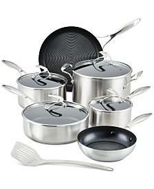SteelShield S-Series Stainless Steel Nonstick Pots and Pans Cookware Set with Bonus Utensil, 10-Piece, Silver