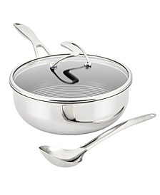 SteelShield C-Series Tri-Ply Clad Nonstick Chef Pan with Lid and Cooking Utensil Set, 3-Piece, Silver