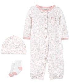 Baby Girls 3-Pc. Take-Me-Home Converter Gown Set