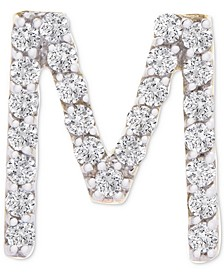 Diamond Initial M Single Stud Earring (1/20 ct. t.w.) in 14k Gold, Created for Macy's