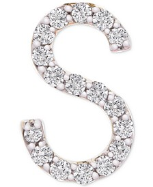 Diamond Initial S Single Stud Earring (1/20 ct. t.w.) in 14k Gold, Created for Macy's