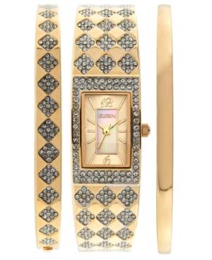 Women's 3 Piece Gold-Tone Strap Watch and Bracelets Set