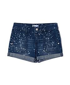 Big Girls Splattered Cuffed Denim Shorts
