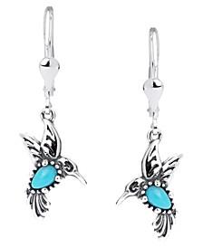 Turquoise Hummingbird Dangle Earrings in Sterling Silver