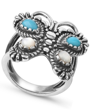by Carolyn Pollack Turquoise Mother of Pearl Butterfly Ring in Sterling Silver