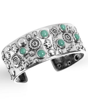 by Carolyn Pollack Green Turquoise Gemstone Petroglyph Cuff Bracelet in Sterling Silver
