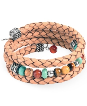 by Carolyn Pollack Sterling Silver Multi-Colored Beads and Braided Leather Coil Bracelet