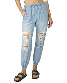 Juniors' Destructed Jogger Jeans