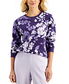Petite Printed Long-Sleeve Fleece Top, Created for Macy's