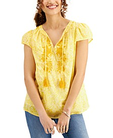 Plus Size Tassel Peasant Top, Created for Macy's