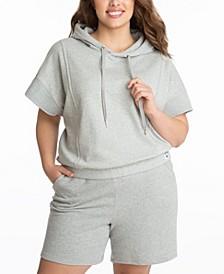 Plus Size Short Sleeve Cropped Hoodie