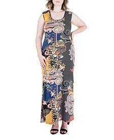 Plus Size Paisley Print Fitted Razorback Maxi Dress