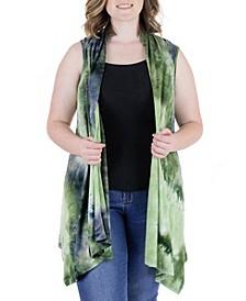Plus Size Tie Dye Sleeveless Cardigan Vest