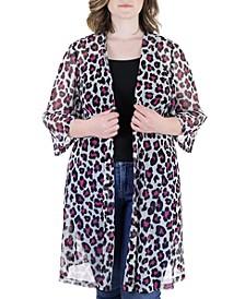 Plus Size Sheer Open Front Animal Print Kimono Cardigan