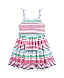 Little Girls Striped Oxford Dress
