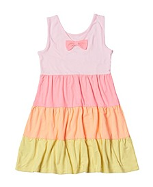 Little Girls Color Blocked Tiered Dress