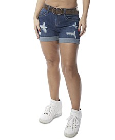 Juniors' Ripped Belted Denim Shorts