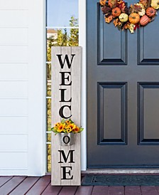 """42""""H Wooden White WELCOME Porch Sign with Metal Planter"""