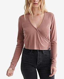 Ribbed Lace-Trim Top