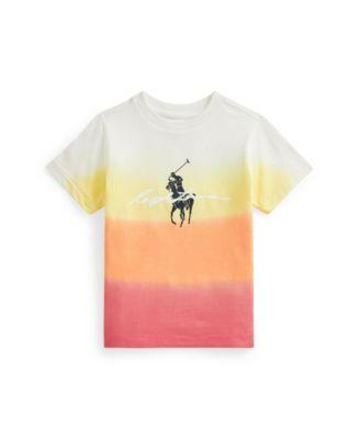 폴로 랄프로렌 Polo Ralph Lauren Little Boys Dip-Dyed Jersey Graphic T-shirt,Classic Peach Dip Dye Mult