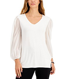 Petite V-Neck Sheer-Sleeve Top, Created for Macy's