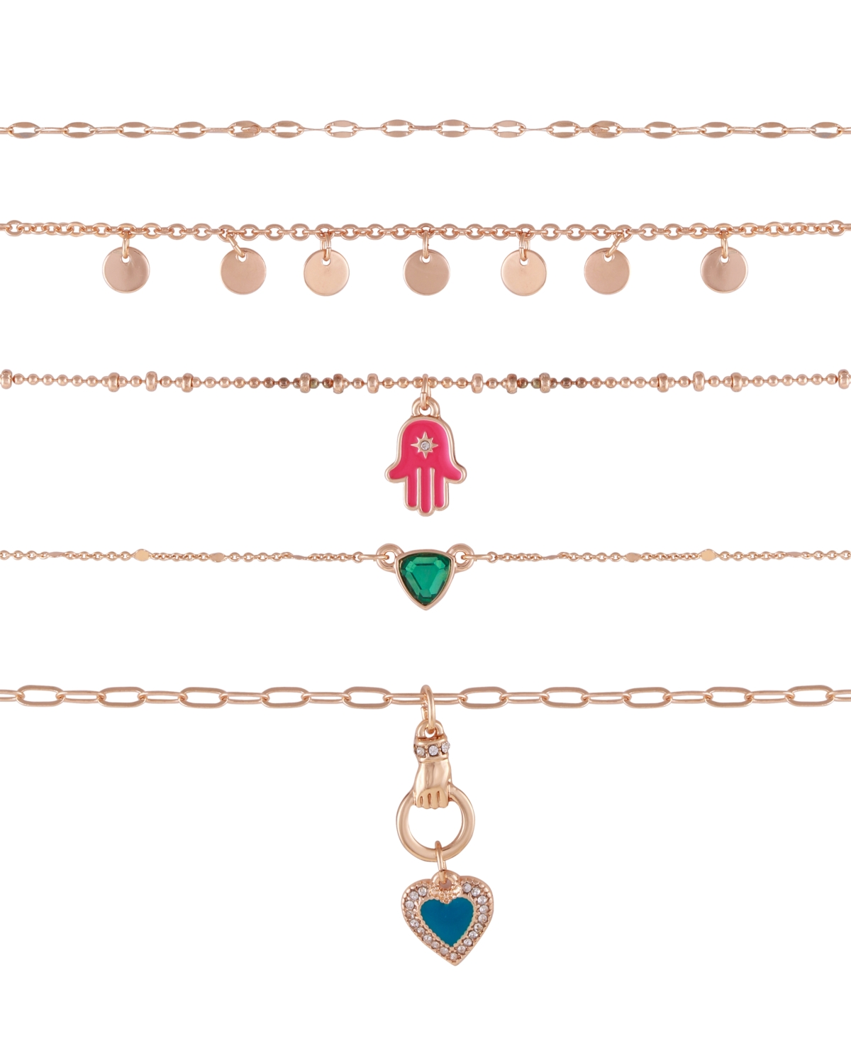 Guess Gold-tone Set Of 5 Chokers With Crystal And Resin Charms