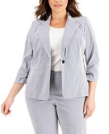 Plus Size Striped Chambray Jacket