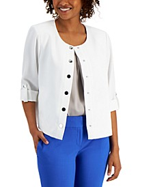 Plus Size Snap-Front Roll-Tab Jacket