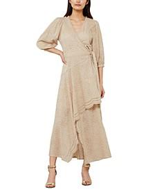 Eyelet Belted Maxi Wrap Dress