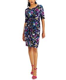 Petite Printed Gathered-Detail Sheath Dress